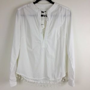 J Crew White Long Sleeve Blouse With Pom Pom Trim